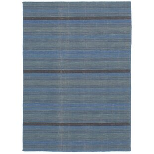 One-of-a-Kind Sanger Handwoven Flatweave 4'9 x 6'7 Wool Turquoise/Blue/Black Area Rug by World Menagerie