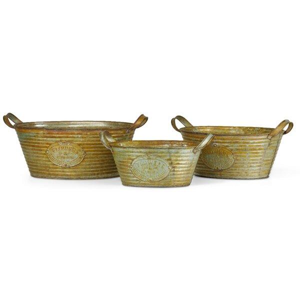 Exotic 3-Piece Iron Pot Planter Set by Benzara