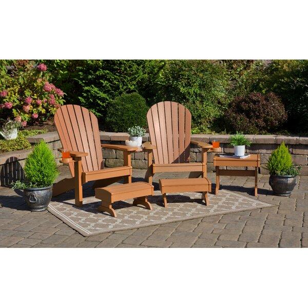 Kelm Plastic/Resin Adirondack Chair Set with Ottoman by Bayou Breeze Bayou Breeze