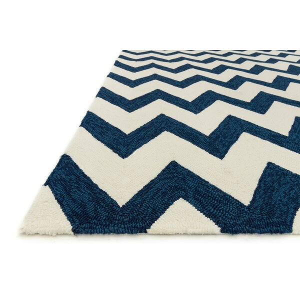 Danko Hand-Hooked Blue/Ivory Indoor/Outdoor Area Rug by Wrought Studio