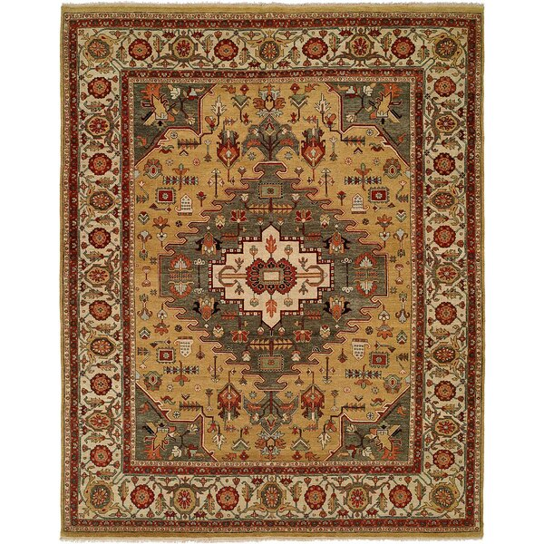 Mccray Hand Knotted Wool Gold/Rust Area Rug by Astoria Grand