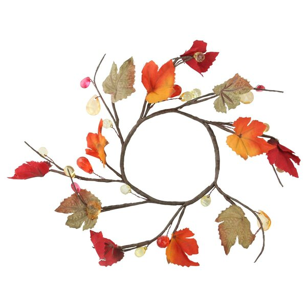 Autumn 6.5 Grape Leaves Twigs and Beads Wreath by The Holiday Aisle