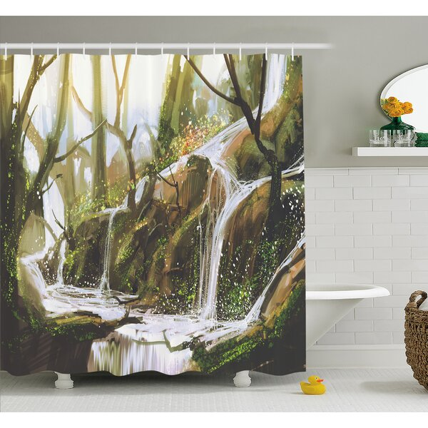 Cascade Stream Flows into Creek in Real like Secret Paradise Paint Shower Curtain Set by East Urban Home
