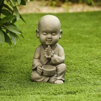 Design Toscano KY47127 Praying Baby Buddha Asian Garden Statue Antique Stone