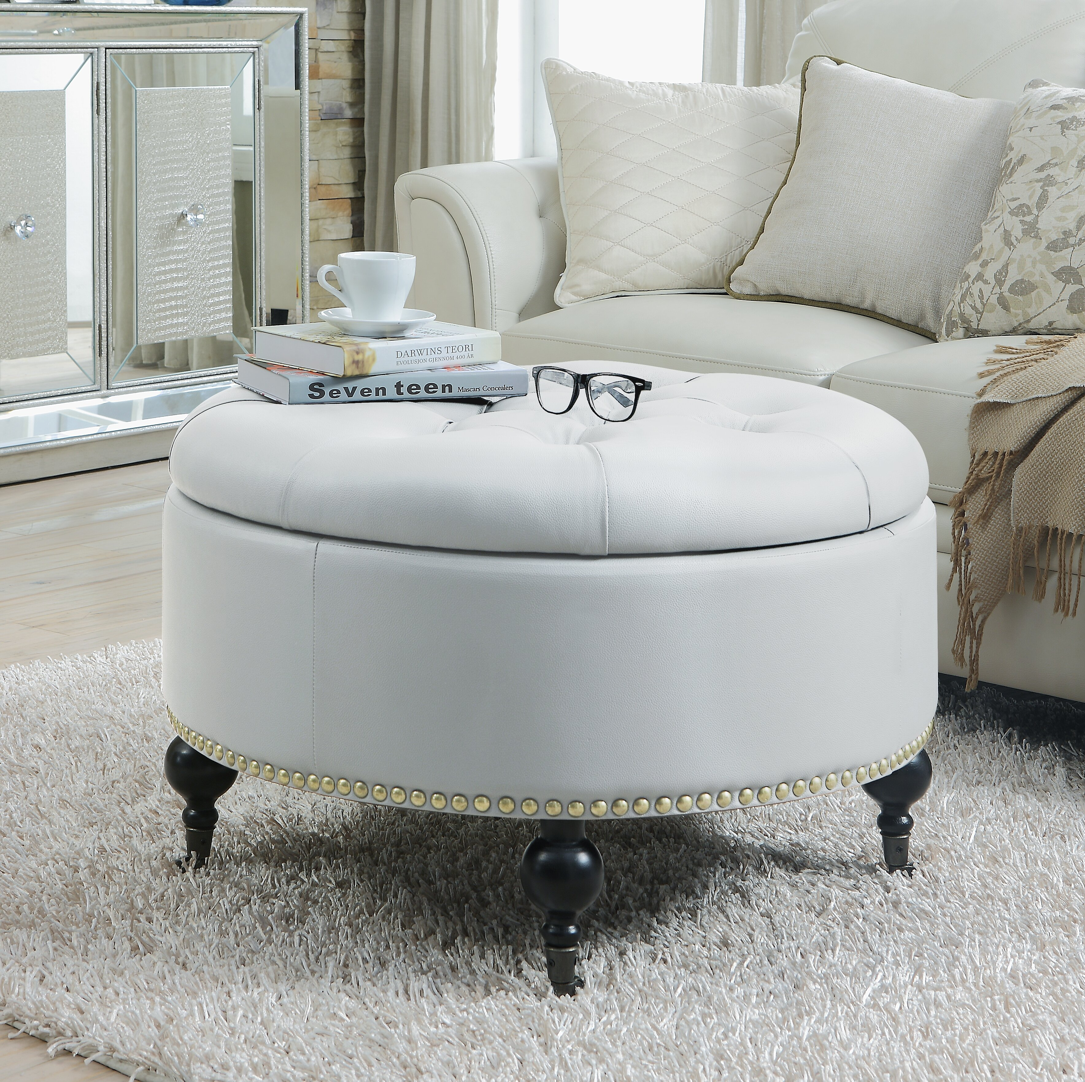 Surprising Letitia Round Storage Ottoman Pabps2019 Chair Design Images Pabps2019Com