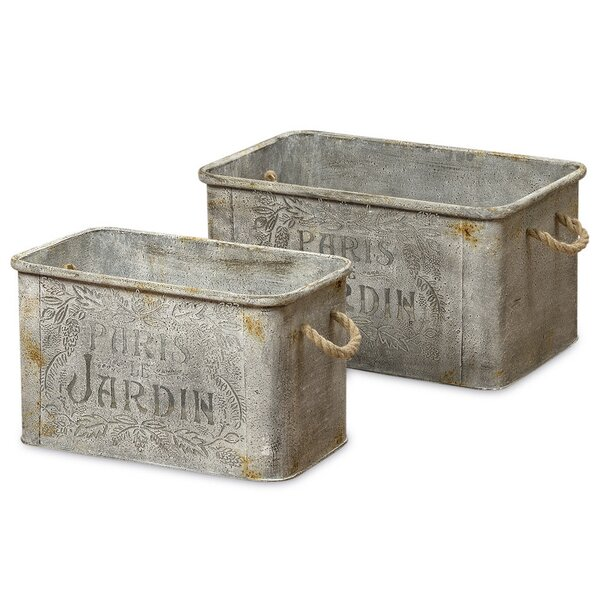 Silva French Country Style 2 Piece Metal Planter Box Set by August Grove