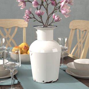 Antique White Metal Table Vase