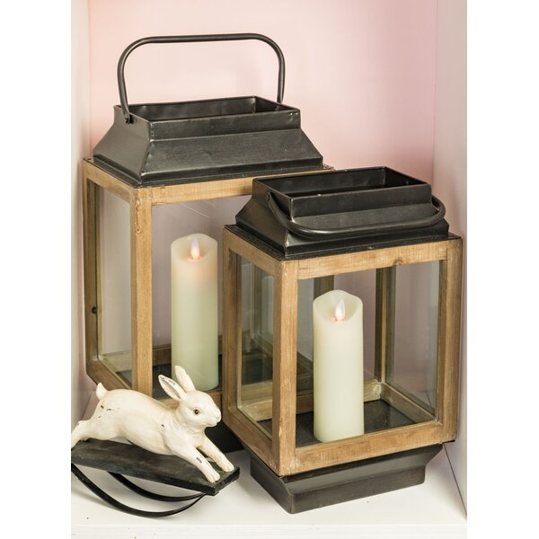 2 Piece Glass and Metal Lantern Set by Gracie Oaks