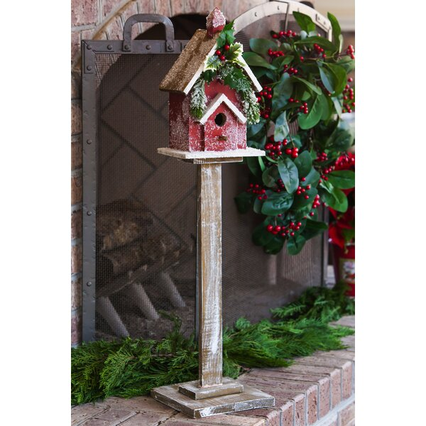 Holiday Retreat Pedestal 34.5 in x 7.75 in x 7.75 in Birdhouse by Evergreen Enterprises, Inc
