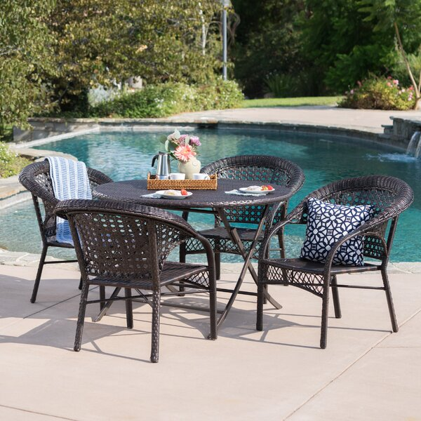 Borkowski Outdoor Wicker 5 Piece Dining Set By August Grove