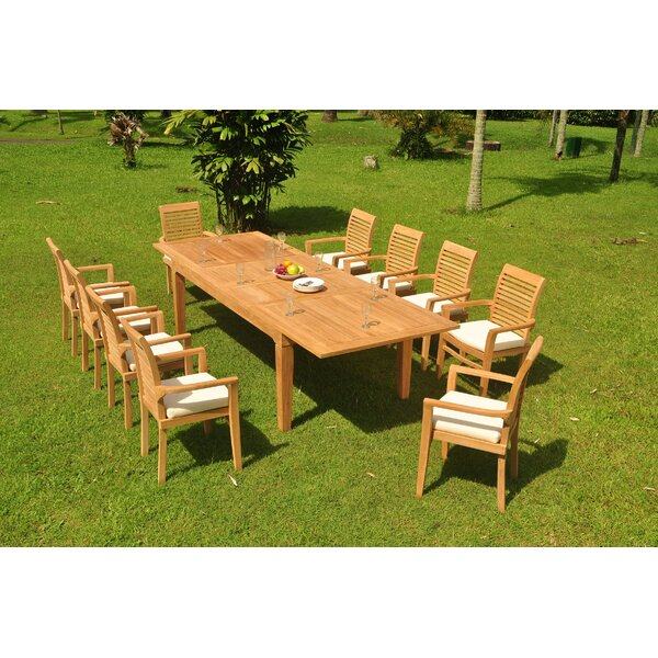Knollview 11 Piece Teak Dining Set by Rosecliff Heights