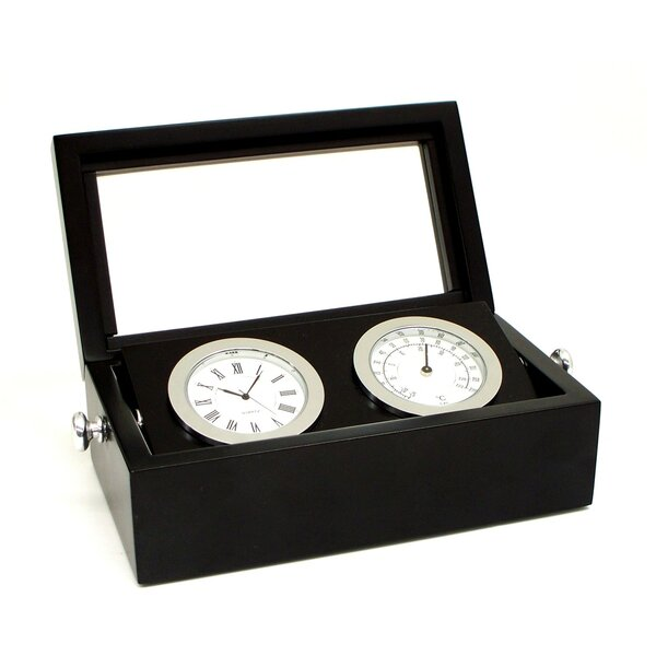 Chrome Clock and Thermometer by Bey-Berk