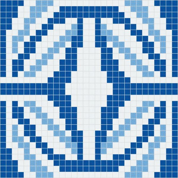 Urban Essentials Gothic Ornament 3/4 x 3/4 Glass Glossy Mosaic in Lakefront Blue by Mosaic Loft