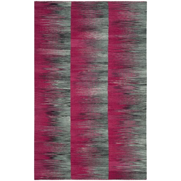 Amerina Hand-Woven Fuchsia/Charcoal Area Rug by Latitude Run
