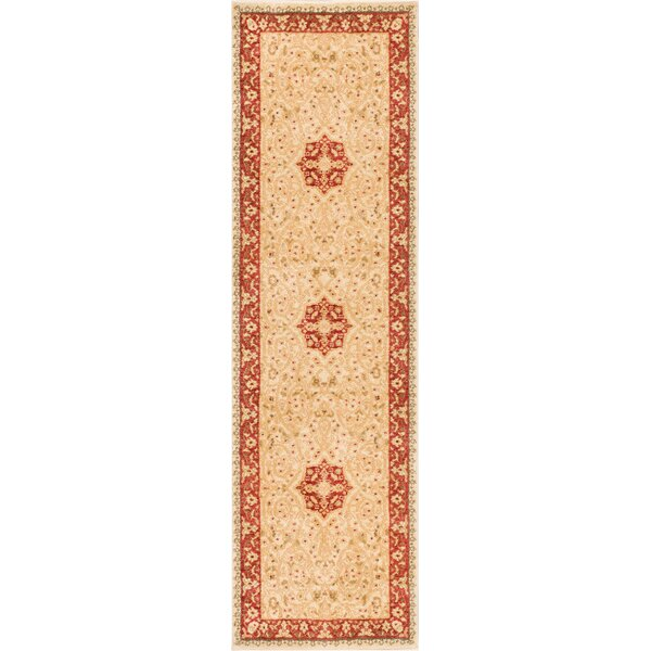 Allerdale Traditional Floral Oriental Beige/Red Area Rug by Astoria Grand