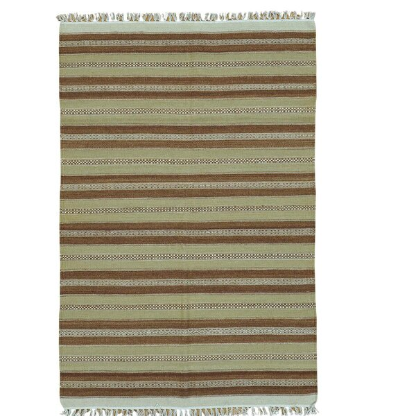 Reversible Flat Weave Durie Kilim Hand-Knotted Light Brown/Olive Area Rug by Bloomsbury Market