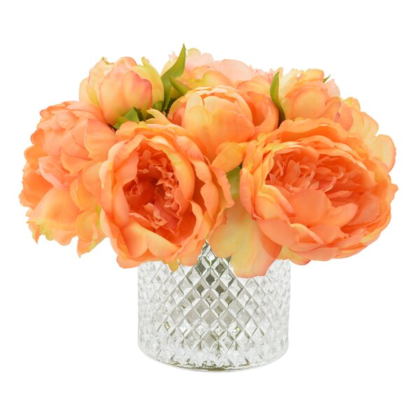 Lush Peony Bouquet in Diamond Etched Glass Vase by House of Hampton