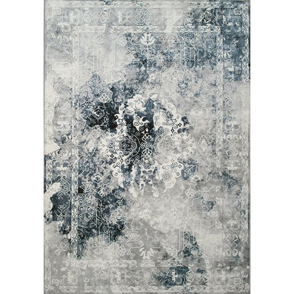 Ted Elegant Distressed Border Gray Area Rug by Williston Forge