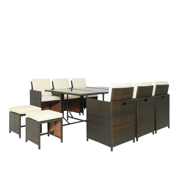 Anhar 11 Piece Dining Set with Cushions