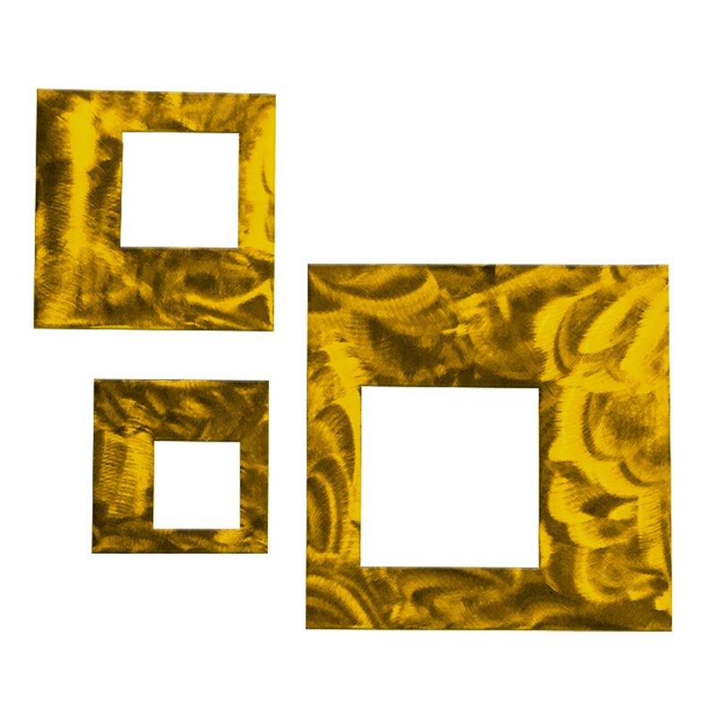 Orren Ellis 3 Piece Contemporary Squares Metal Wall Décor Set ...
