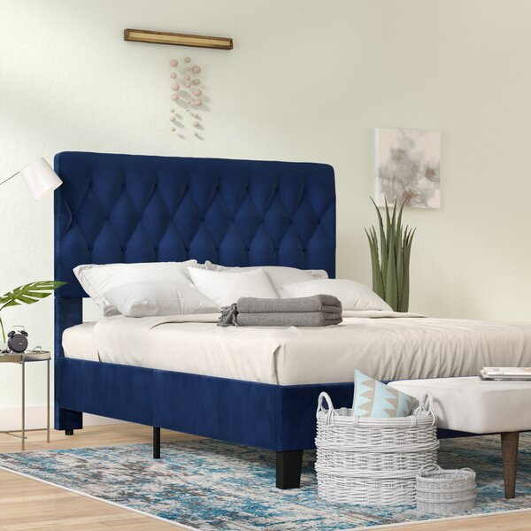 separation shoes 1b4c8 3f45d navy blue upholstered bed You'll Love in 2019 | Wayfair