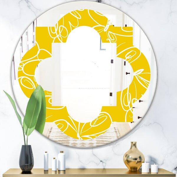 Butterflies Hand Drawn Quatrefoil Cottage Americana Frameless Wall Mirror