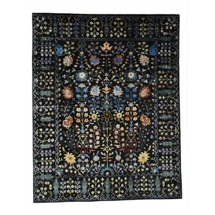 Dyess One-of-a-Kind Arts and Crafts Hand-Knotted Wool Black Area Rug by Bungalow Rose