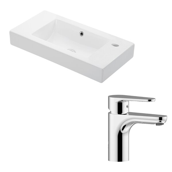 Minimal Ceramic Ceramic Rectangular Vessel Bathroom Sink with Faucet and Overflow by WS Bath Collections