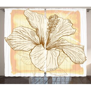 Large Hibiscus Room Darkening Rod Pocket Curtain Panels (Set of 2)