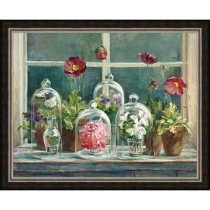 'Purple Poppies Windowsill' Framed Painting Print by Ashton Wall Décor LLC