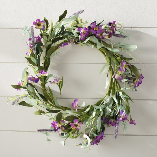 20 Floral Wreath with Daisy and Lavender by Lark Manor