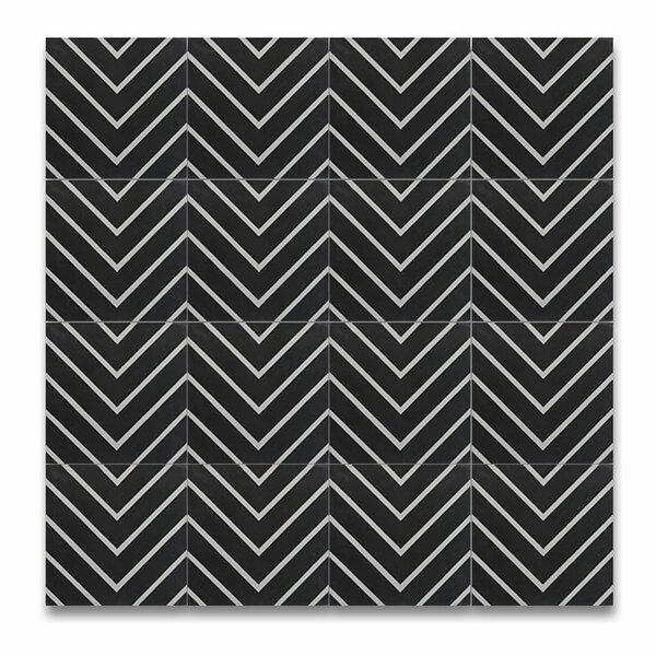 Amlil 8 x 8 Handmade Cement  Tile in Black/White by Moroccan Mosaic