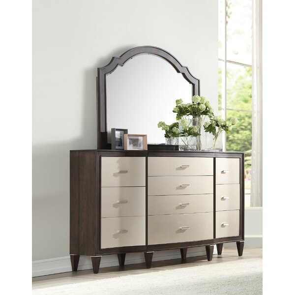 Fuselier 10 Drawer Double Dresser with Mirror by House of Hampton