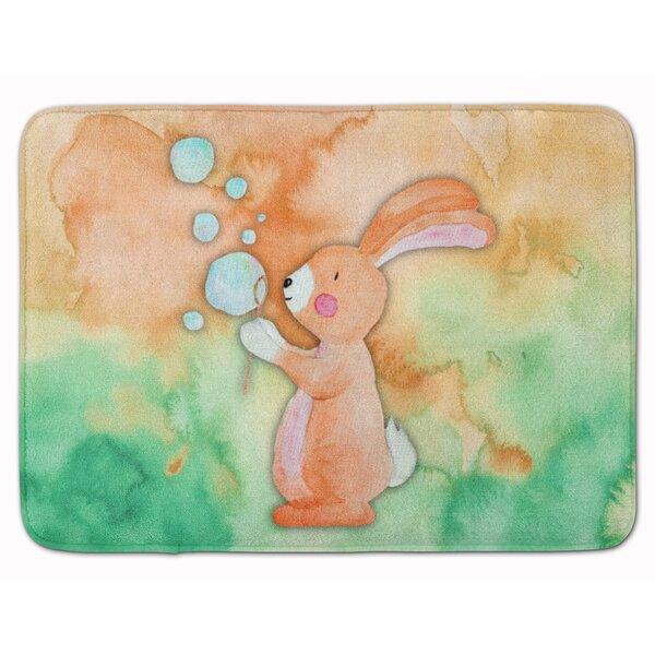 Beulah Rabbit and Bubbles Watercolor Rectangle Microfiber Non-Slip Bath Rug