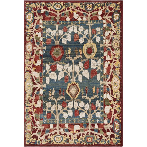 Arbouet Floral Red/Blue Area Rug by Charlton Home