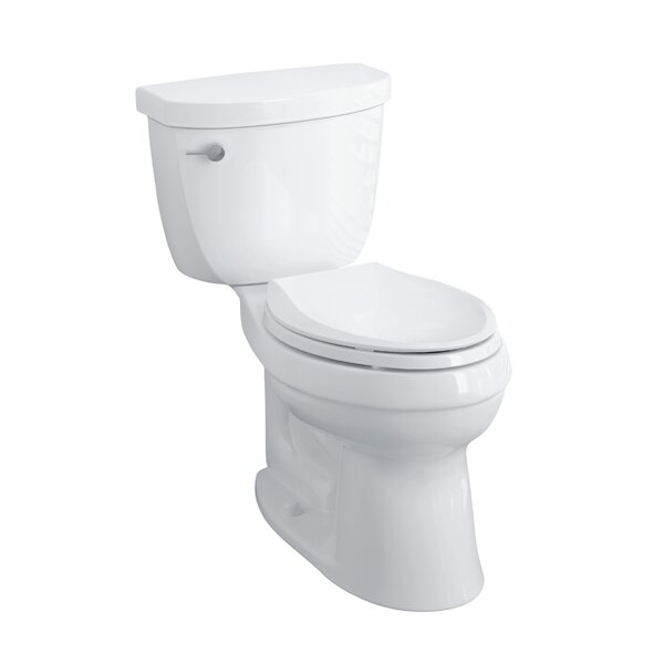 Cimarron Comfort Height Two-Piece Elongated 1.28 GPF Toilet with Aquapiston Flush Technology, Left-Hand Trip Lever and Insuliner Tank Liner by Kohler