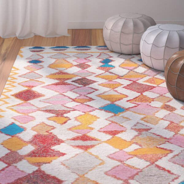 Zetta Hand-Tufted Orange/Pink Area Rug by Bungalow Rose