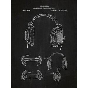 Music and Audio 'Sennheiser HD800 Headphone' Silk Screen Print Graphic Art in Chalkboard/White Ink by Inked and Screened