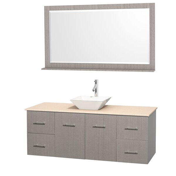 Centra 60 Single Gray Oak Bathroom Vanity Set with Mirror by Wyndham Collection