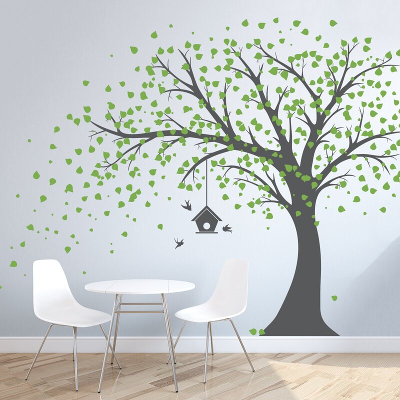 Wallums Wall Decor Large Windy Tree With Birdhouse Wall Decal - Wall decals large