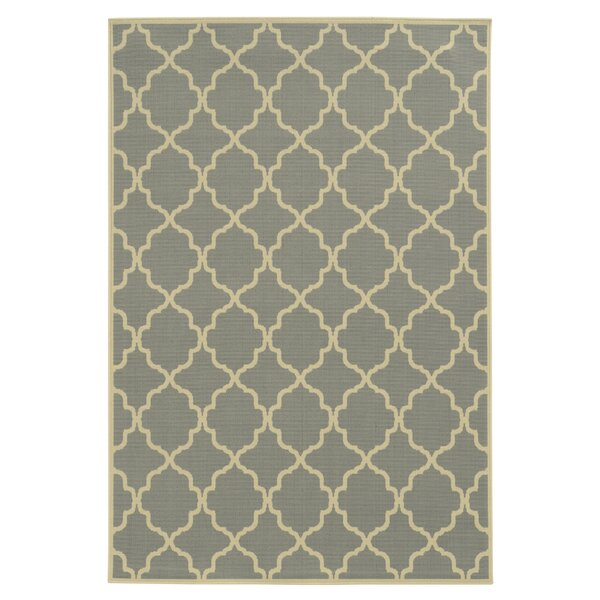 Heidy Geometric Gray/Ivory Indoor/Outdoor Area Rug by Zipcode Design