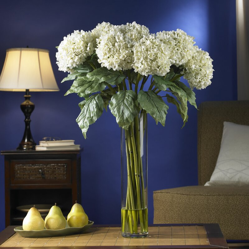 Nearly natural hydrangea silk floral arrangement in vase reviews hydrangea silk floral arrangement in vase mightylinksfo