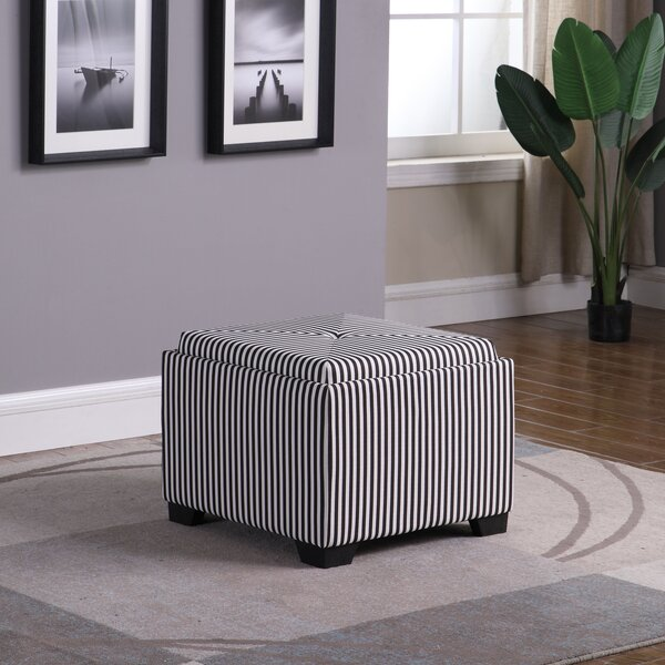 Nathan Stripes Single Tufted Storage Ottoman by Breakwater Bay