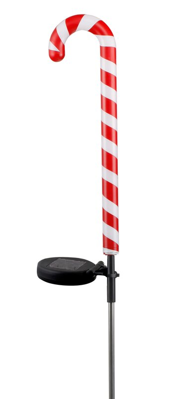 Solar Candy Cane Garden Stake With 10 LED Lights
