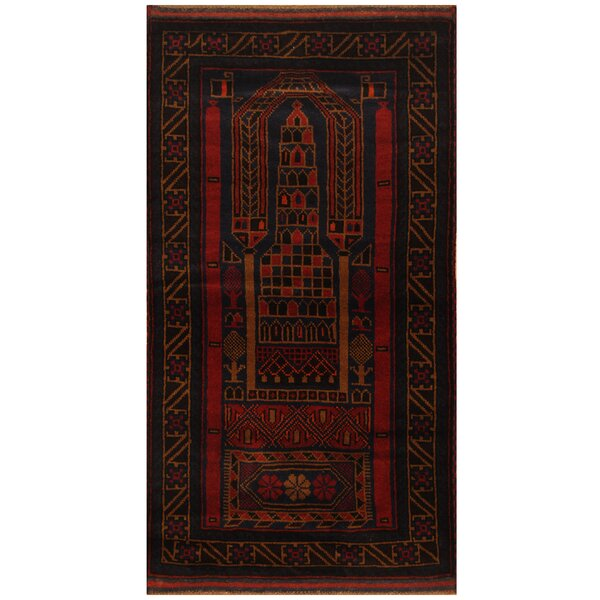 One-of-a-Kind Culpepper Balouchi Hand-Knotted Wool Navy/Red Area Rug by World Menagerie