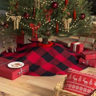 farmersville plaid cotton christmas tree skirt - Red And Black Plaid Christmas Decor