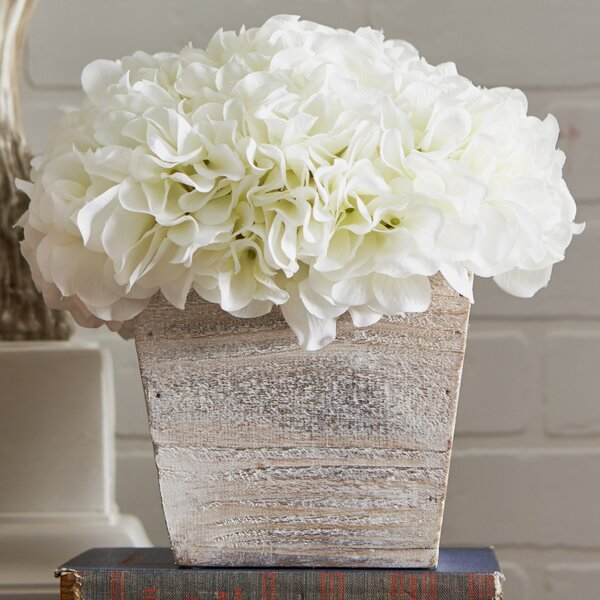 Hydrangea in White-Washed Wood Cube by Lark Manor