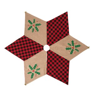 Plaid Tree Skirt w/Holly