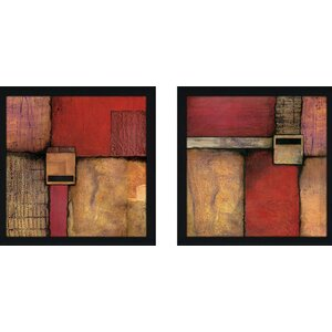 'Burnt Orange' 2 Piece Framed Acrylic Painting Print Set Under Glass by Zipcode Design