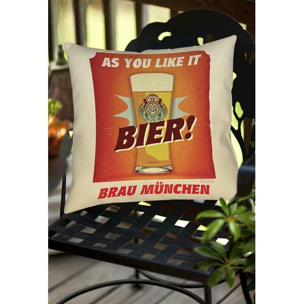 Bier Brau Munchen Indoor/Outdoor Throw Pillow by Manual Woodworkers & Weavers